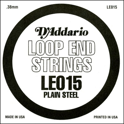 D'Addario LE015 Plain Steel Loop End .015 inches (.38 mm), Single