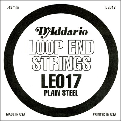 D'Addario LE017 Plain Steel Loop End .017 inches (.43 mm), Single