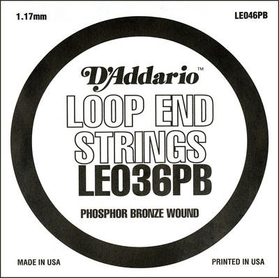 D'Addario LE036PB Phosphor Bronze Loop End .036 in, Single String