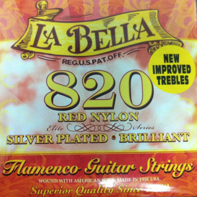 La Bella 820 Elite Flamenco (Red Trebles) Medium Tension, Full Set