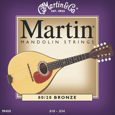 Martin M400 80/20 Bronze Mandolin Strings (10 - 34) Loop End, Full Set