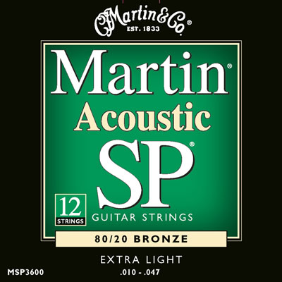 Martin MSP3600 80/20 Bronze 12 String Extra Light SP, Full Set