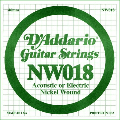 D'Addario NW018 Nickel Wound .018 inches (.46 mm), Single String