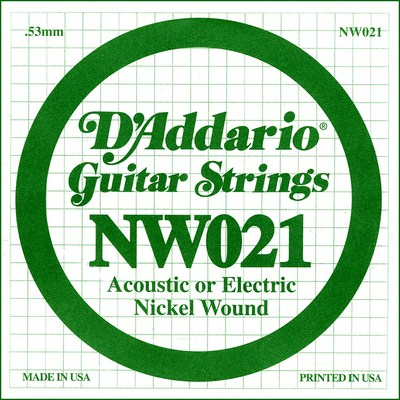 D'Addario NW021 Nickel Wound .021 inches (.53 mm), Single String