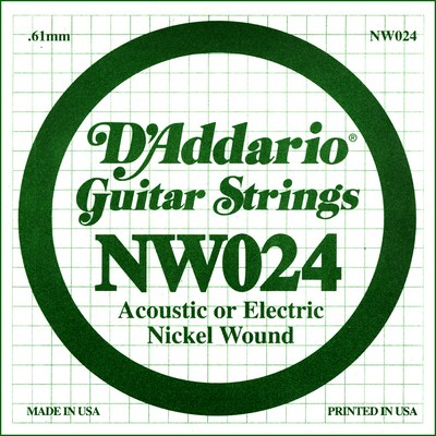 D'Addario NW024 Nickel Wound .024 inches (.61 mm), Single String