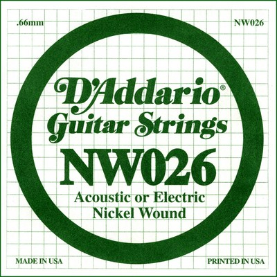 D'Addario NW026 Nickel Wound .026 inches (.66 mm), Single String