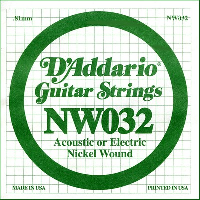 D'Addario NW032 Nickel Wound .032 inches (.81 mm), Single String