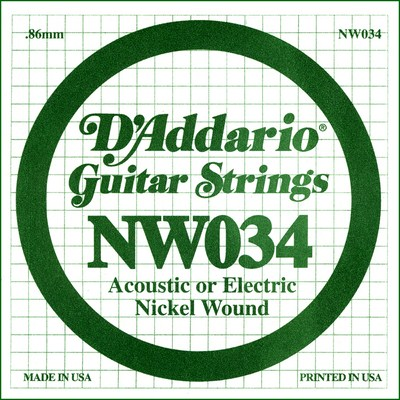 D'Addario NW034 Nickel Wound .034 inches (.86 mm), Single String