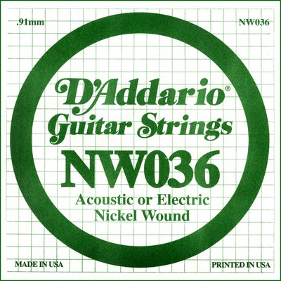 D'Addario NW036 Nickel Wound .036 inches (.91 mm), Single String