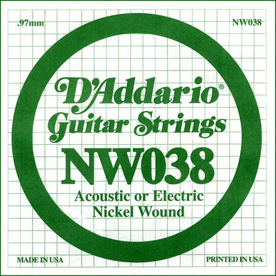 D'Addario NW038 Nickel Wound .038 inches (.97 mm), Single String