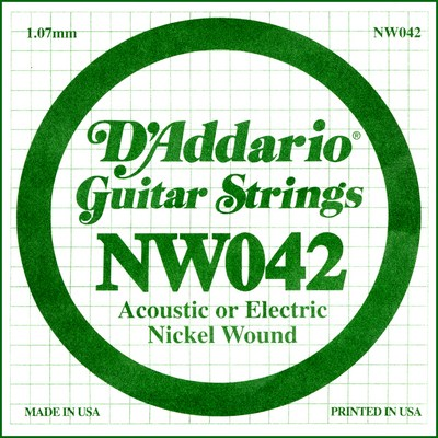 D'Addario NW042 Nickel Wound .042 inches (1.07 mm), Single String