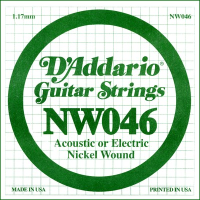 D'Addario NW046 Nickel Wound .046 inches (1.17 mm), Single String