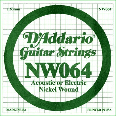 D'Addario NW064 Nickel Wound .064 inches (1.63 mm), Single String