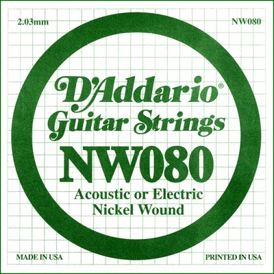 D'Addario NW080 Nickel Wound .080 inches (2.03 mm), Single String