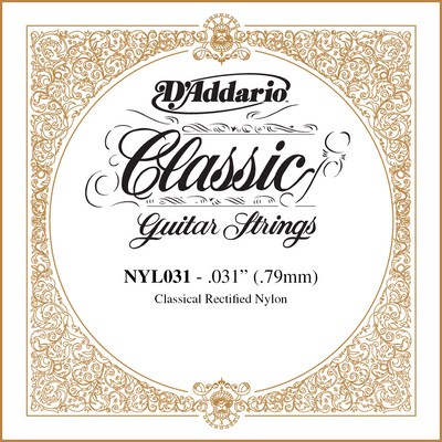 D'Addario NYL031 Classical Guitar Rectified Nylon .031 single string