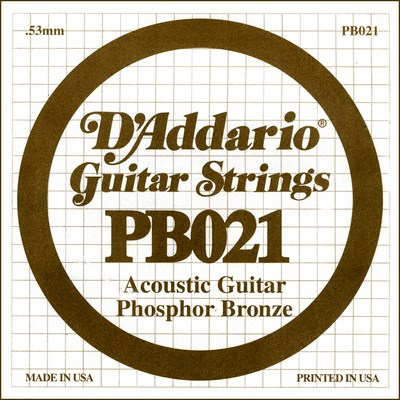 D'Addario PB021 .021 inches (.53 mm), Single String