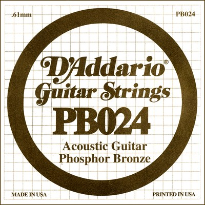 D'Addario PB024 .024 inches (.61 mm), Single String