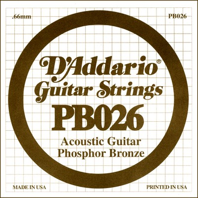 D'Addario PB026 .026 inches (.66 mm), Single String
