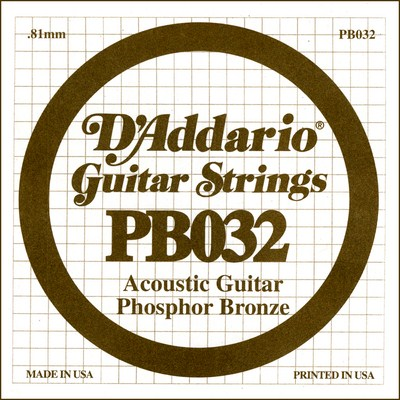 D'Addario PB032 .032 inches (.81 mm), Single String