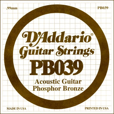 D'Addario PB039 .039 inches (.99 mm), Single String