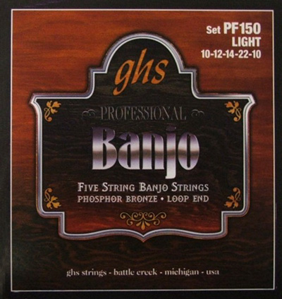 GHS PF150 Professional Banjo, Light Gauge 5 String , Full Set