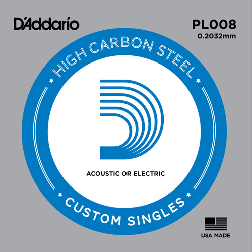 D'Addario PL008 Plain Steel Ball End .008 in. (.20 mm), Single