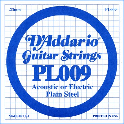 D'Addario PL009 Plain Steel Ball End .009 in. (.23 mm), Single