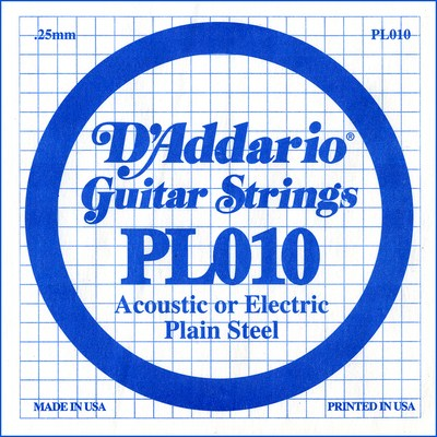 D'Addario PL010 Plain Steel Ball End .010 in. (.25 mm) Single String