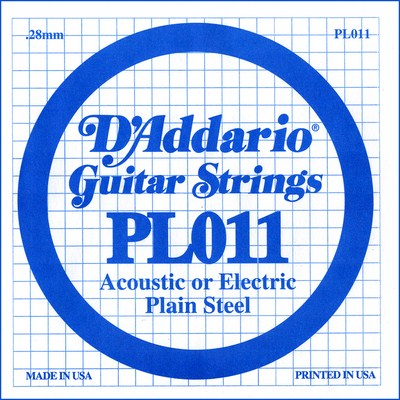 D'Addario PL011 Plain Steel Ball End .011 in. (.28 mm), Single