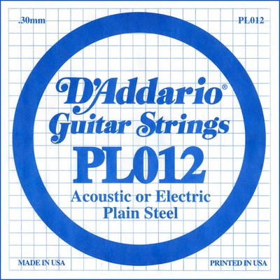 D'Addario PL012 Plain Steel Ball End .012 in. (.30 mm), Single