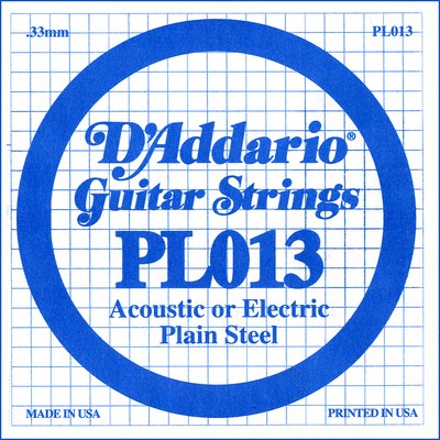 D'Addario PL013 Plain Steel Ball End .013 in. (.33 mm) Single String