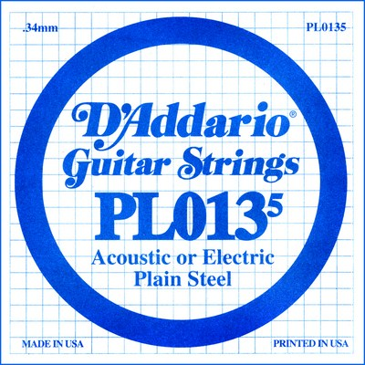 D'Addario PL0135 Plain Steel Ball End .0135 in. (.34 mm), Single