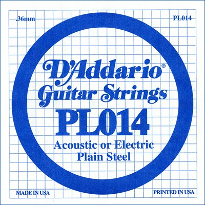 D'Addario PL014 Plain Steel Ball End .014 in. (.36 mm), Single