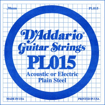D'Addario PL015 Plain Steel Ball End .015 in. (.38 mm) Single String