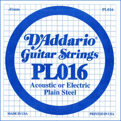D'Addario PL016 Plain Steel Ball End .016 in. (.41 mm) Single String