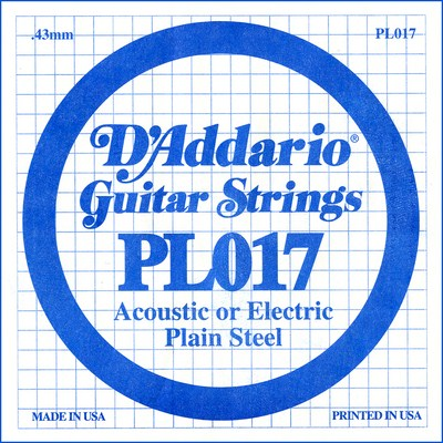 D'Addario PL017 Plain Steel Ball End .017 in. (.43 mm), Single