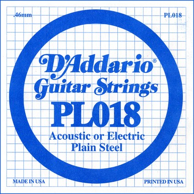 D'Addario PL018 Plain Steel Ball End .018 in. (.46 mm), Single