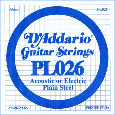 D'Addario PL026 Plain Steel Ball End .026 in. (.66 mm), Single
