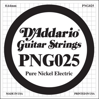 D'Addario PNG025 Pure Nickel Wound .025, Single String