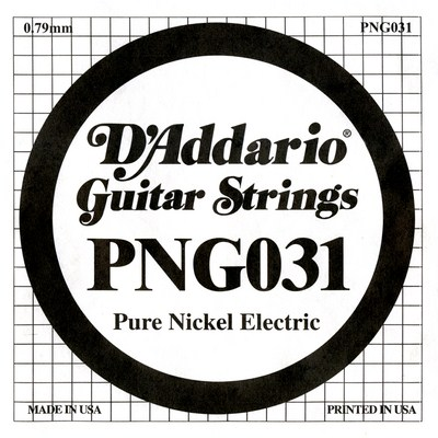D'Addario PNG031 Pure Nickel Wound .031, Single String