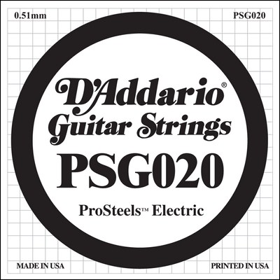 D'Addario PSG020 ProSteels Wound .020, Single String