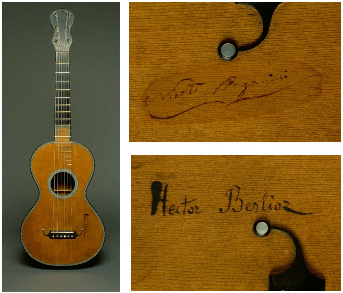 Guitar that belonged to Paganini and then to Berlioz, made by Jean-Nicolas Grobert (1794-1866) in Paris, France, ca. 1830. Musée de la musique of Paris. Photos by Richard Lambert.