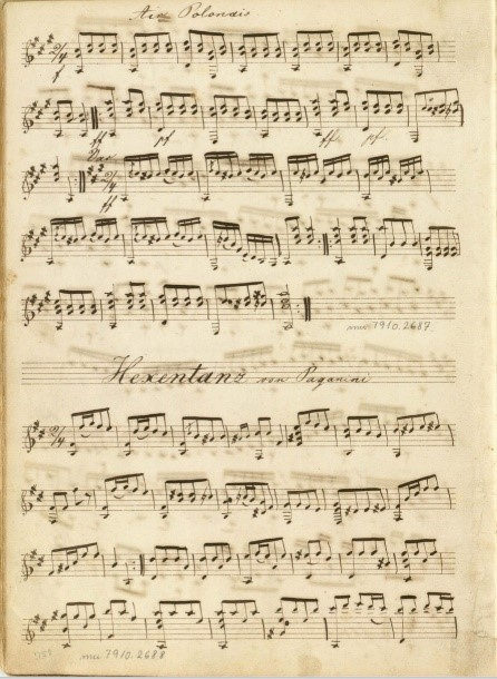 Manuscript fragment of guitar pieces written by Paganini.