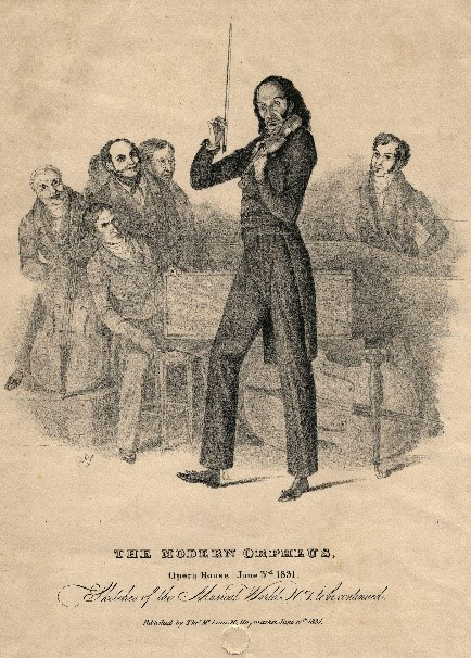 One of the numerous caricatures of Paganini playing the violin.