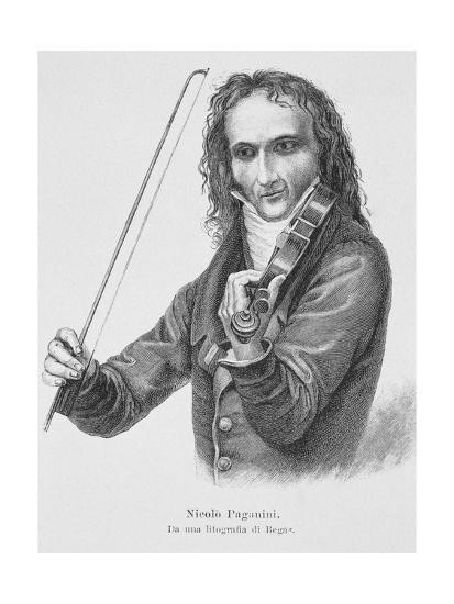 A portrait of Paganini playing his Stradivarius
