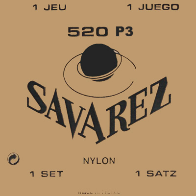 Savarez 520P3 Nylon Wound 3rd/Red Card Basses High Tension, Full Set