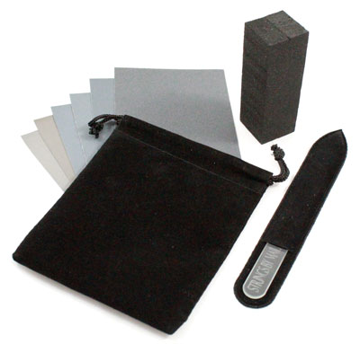 Nail File/Buff Kit 6pk Micromesh, Foam Block, 5.5in Glass File, Pouch