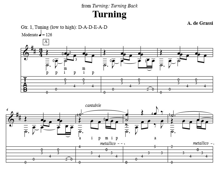 Alex de Grassi: Turning Sheet Music | A preview of this piece is available.
