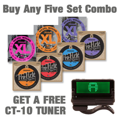 D'Addario 5 Pack Sale - Pick 5 Sets get 1 PW-CT-10 Tuner FREE!