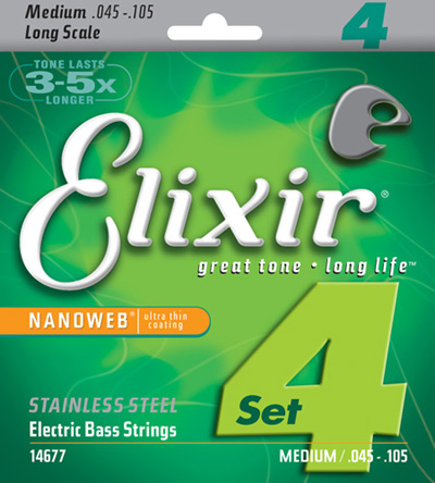 Elixir 14677 Electric Bass Stainless Steel Nanoweb 4 String (45-105)